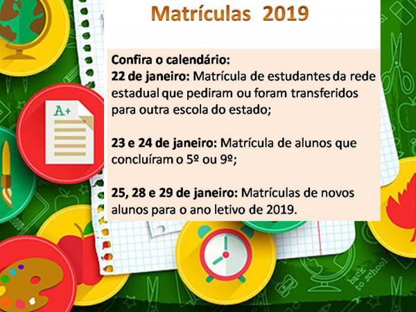 Gandu - Matrículas da rede pública estadual para o ano letivo de 2019.