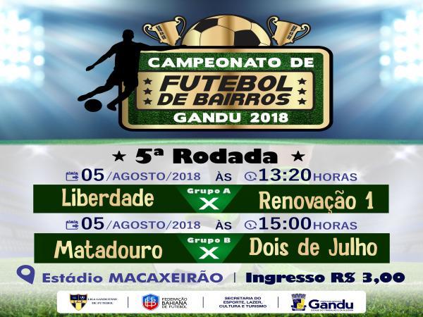 Após uma parada, Campeonato de Bairros de Gandu 2018 recomeça neste domingo.