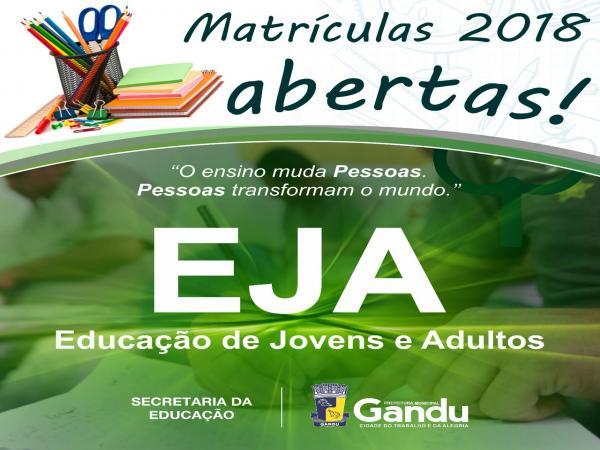 Secretaria Municipal da Educação de Gandu abre matrículas para estudantes do EJA.
