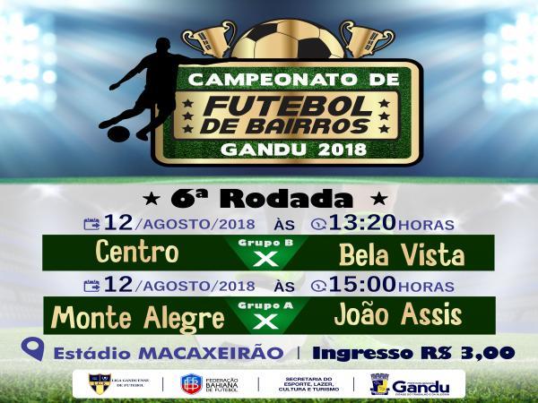 6ª rodada do Campeonato de Bairros de Gandu acontece neste domingo.