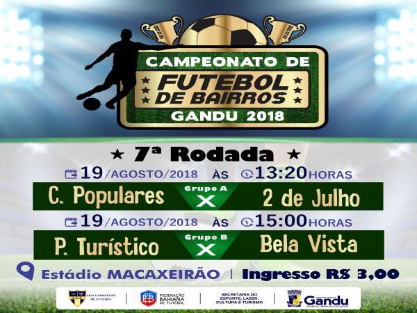 Neste domingo acontece a 7ª rodada do Campeonato de Bairros de Gandu.