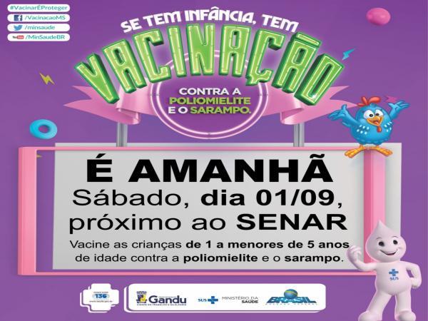 Em Gandu, campanha de vacinação acontece neste sábado próximo ao Senar.