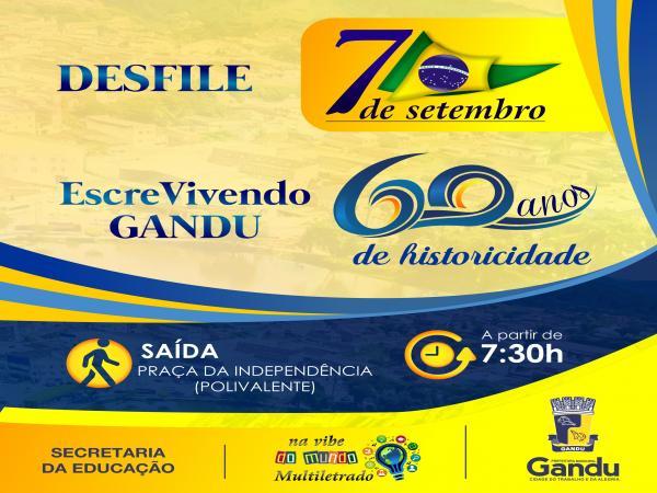 Secretaria da Educação de Gandu realiza nesta sexta o tradicional desfile de 7 de setembro.