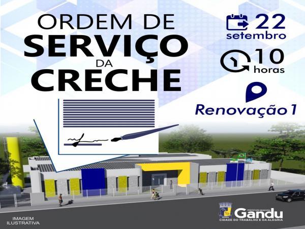 Prefeito de Gandu assina ordem de serviço para construção de uma creche no Bairro Renovação 1.