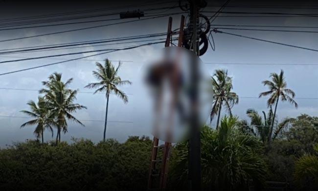 Homem morre eletrocutado em poste, durante manutenção de internet
