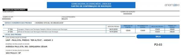 Enem 2018: locais de prova estão disponíveis para consulta no cartão de confirmação.