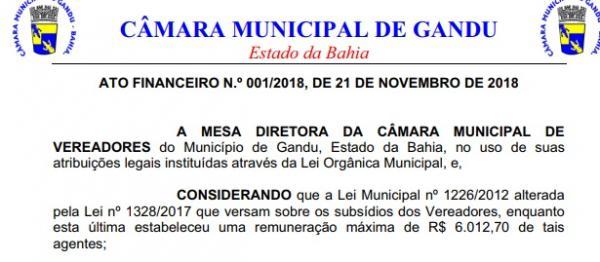 Câmara de Gandu reajusta salários de vereadores para R$ 6.012,70