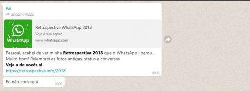 Retrospectiva do whatsapp 2018: novo golpe atinge milhares de usuários.