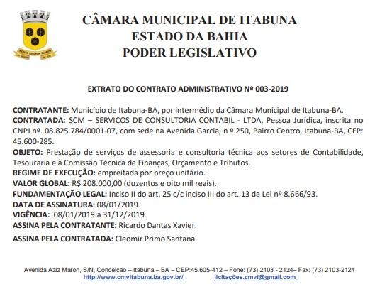 Câmara de vereadores de Itabuna contrata empresa de contabilidade por R$ 208 mil.