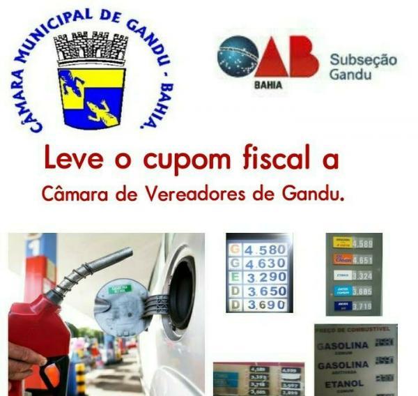 Gandu | Câmara de Vereadores e OAB farão ação conjunta contra  abuso de preços nos postos de combustíveis; participe.