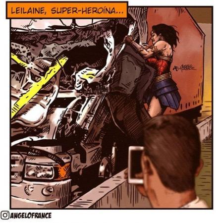 Mulher que salvou motorista envolvido em acidente de Boechat vira super-heroína