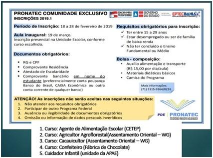 PRONATEC abre inscrições para Cursos Técnicos Gratuito em Gandu e Wenceslau Guimarães