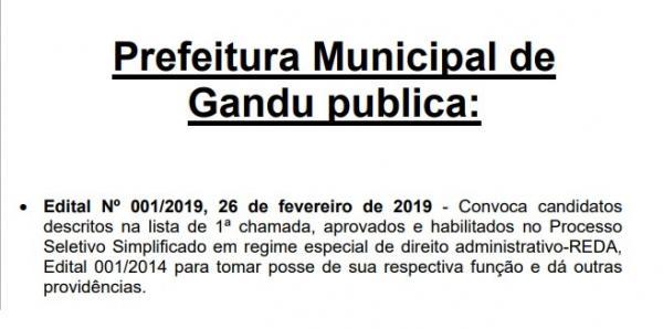 Prefeitura de Gandu convoca aprovados em concurso