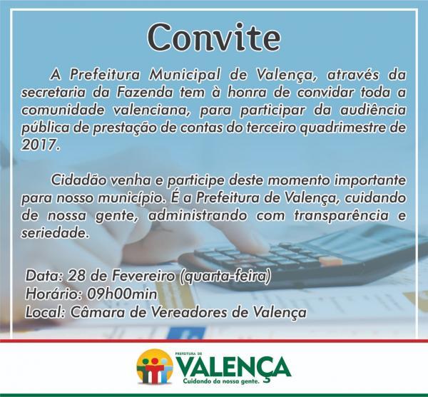 Prefeitura de Valença convida toda comunidade para participar da Audiência Pública de prestação de contas.