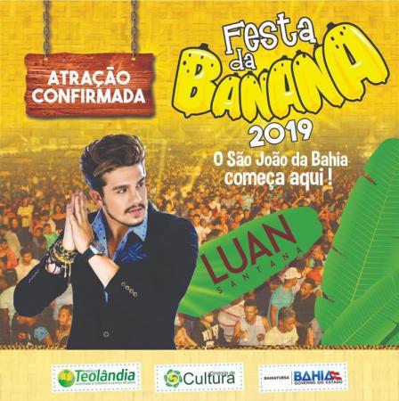 Luan Santana na festa da Banana 2019, anuncia Prefeito Lázaro.