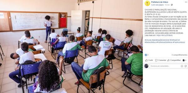 Forte Chuvas | Aulas da rede municipal de Ilhéus são suspensas
