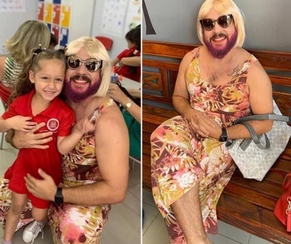 Viúvo, pai se veste de 'mãe' para participar de homenagem na escola da filha