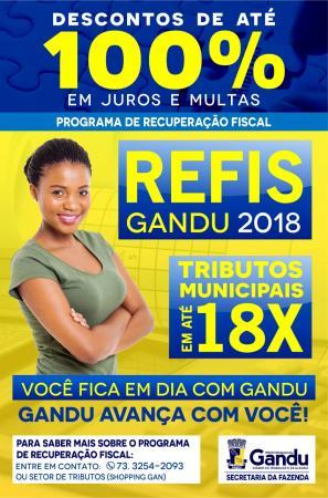 REFIS 2018: Contribuinte ganduense tem até 30 de março para quitar dívidas com o município, com descontos de até 100%.