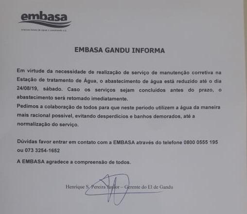 Após dias sem cair água, Embasa anuncia redução no abastecimento