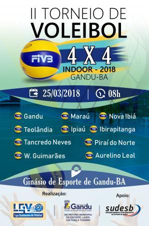 Gandu sedia 2º Torneio de Voleibol 4x4 Indoor 2018, o evento reúne 12 equipes.