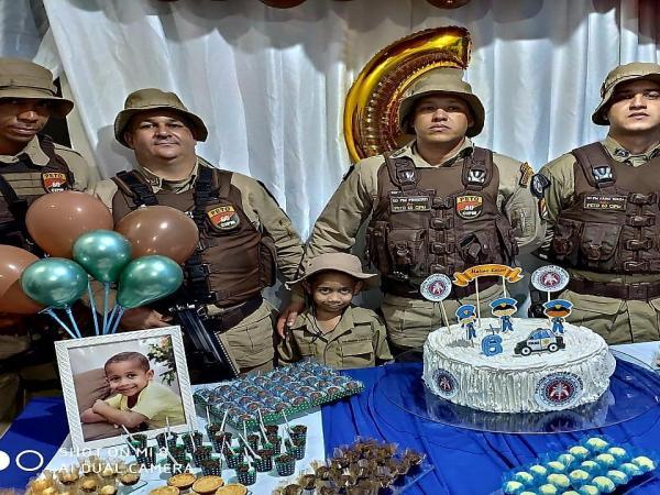 Gandu: Polícia Militar e tema de aniversário de garoto de 6 anos