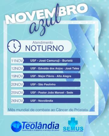 Postos de Saúde de Teolândia terão atendimento Noturno durante a campanha do Novembro Azul.