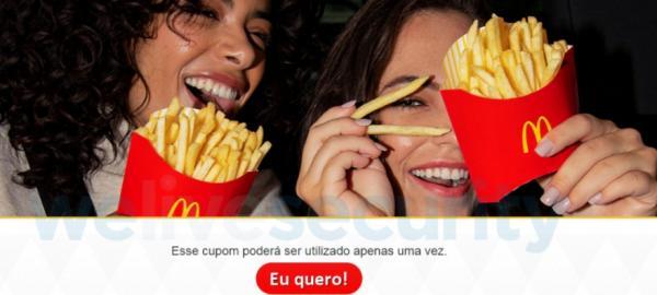 Cuidado: Promoção falsa do McDonald's instala malware e já tem mais de 100 mil cliques