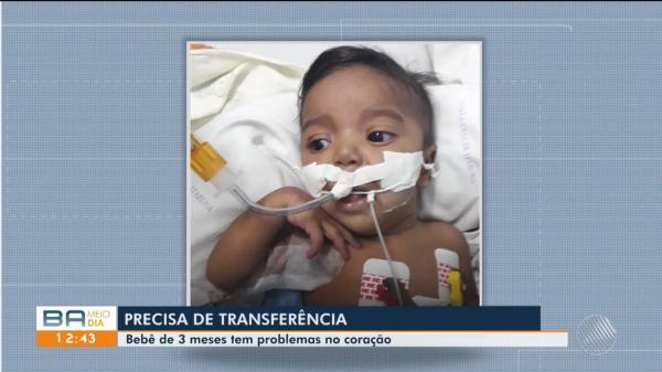 Criança com problema no coração aguarda transferência para unidade especializada em Itabuna
