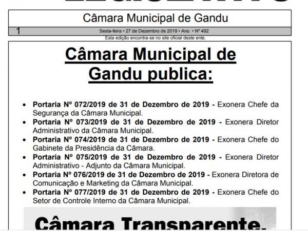 Presidente da Câmara de Gandu exonera seis servidores comissionados da Mesa Diretora