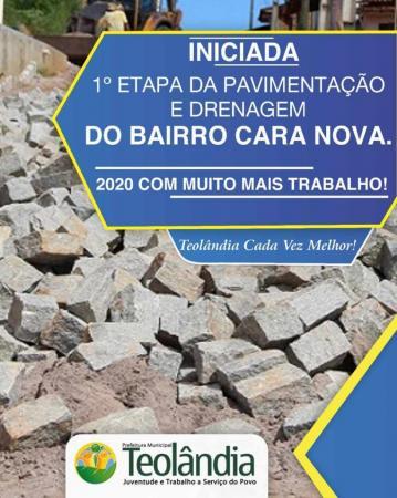 Teolândia: Prefeitura inicia as obras de Pavimentação e Drenagem do Bairro Cara Nova