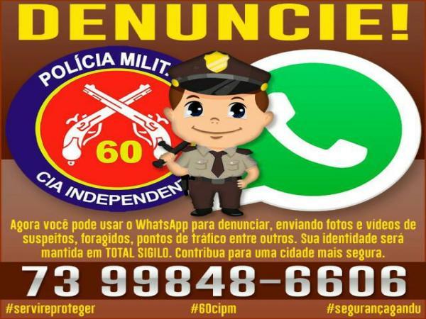 60ª CIPM Gandu lança nesta sexta-feira (06) número de WhatsApp para informações e denúncias.