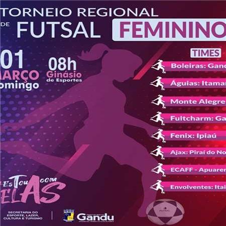 Acontece nesse domingo, o 1° Torneio de Futsal Feminino de Gandu.