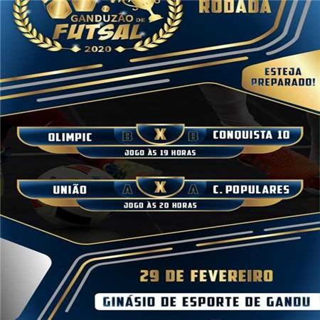 Quatro equipes disputam a 3° rodada do Ganduzão de Futsal 2020.