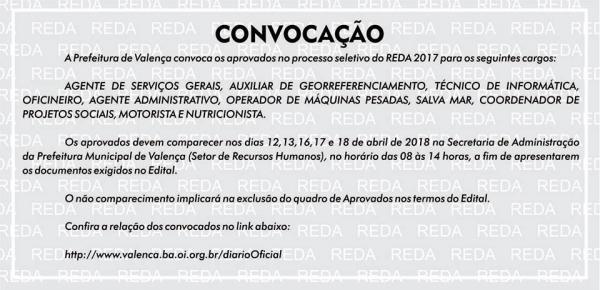 Prefeitura de Valença convoca os aprovados no processo seletivo do REDA 2017.
