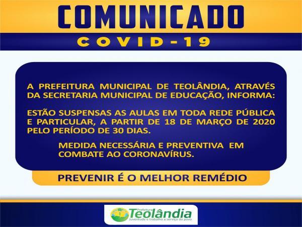Teolândia: Medidas necessária e preventiva em combate ao Coronavírus.
