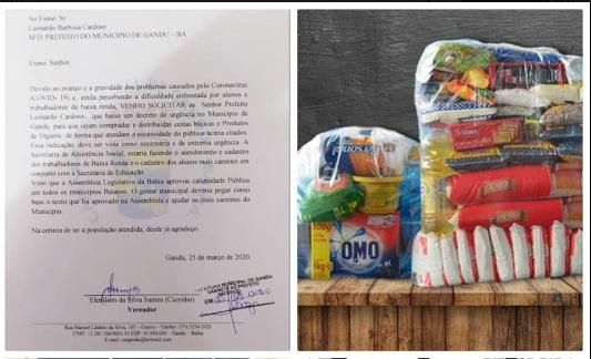 Vereador solicita que alunos e trabalhadores de baixa renda recebam cestas básicas em Gandu