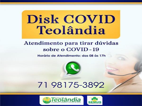 Teolândia lança contato para dúvidas sobre o Coronavírus.