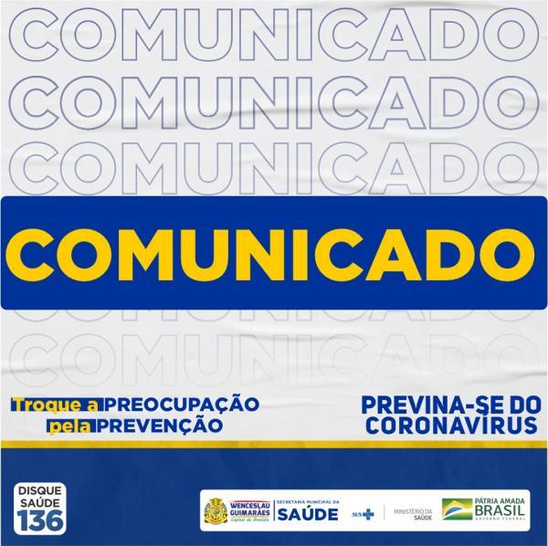 Boletim epidemiológico de Wenceslau Guimarães desde quarta (17)