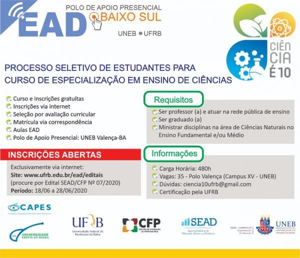 UNEB Campus XV – Valença e UFRB oferecem Especialização Gratuita para Professores de Ciências.