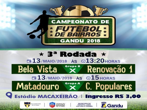 Mais quatro times estreiam neste domingo (13) no Campeonato de Bairros de Gandu 2018.