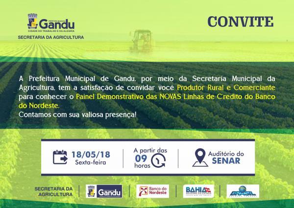 Prefeitura de Gandu e Secretaria da agricultura promovem encontro com agricultores e comerciantes para discutir linhas de crédito