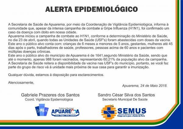 Secretaria de Saúde de Apuarema confirma um óbito por H1N1