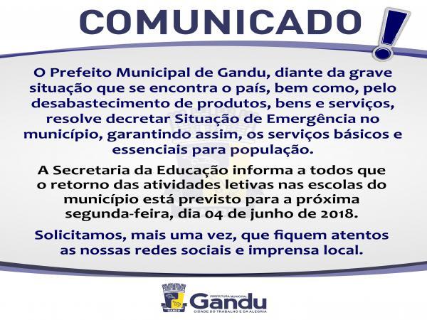 Prefeitura de Gandu mantém a suspensão das aulas para esta quarta-feira(30) e decreta Situação de Emergência .