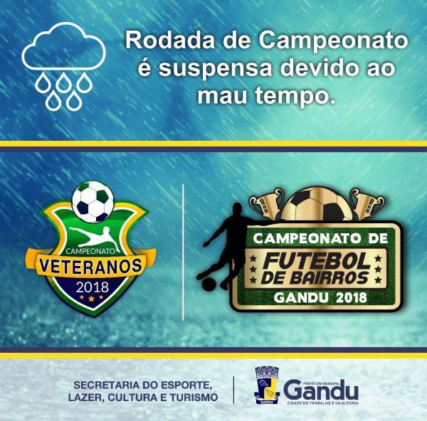 Comunicado: Prefeitura e Secretária suspendem partidas do Campeonato de Veteranos deste domingo (3).