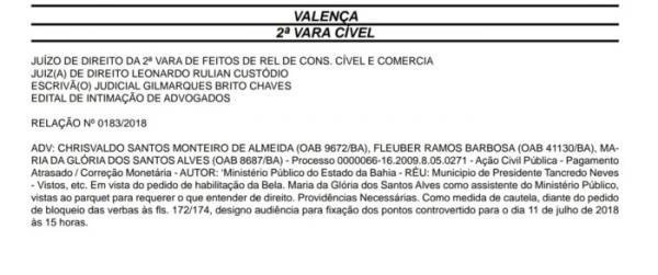 Ministério Público solicita bloqueio de verbas para atual prefeito pagar dividas de ex-prefeitos