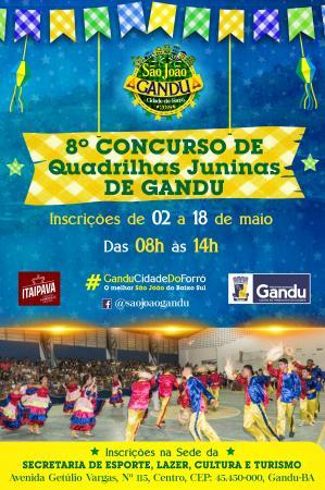 Prefeitura de Gandu promove neste domingo a 8ª edição do concurso de Quadrilhas Juninas.